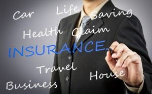 Businessman hand drawing Insurance word concept